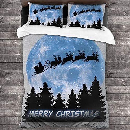 KUKHKU Bettwäsche-Set, Weihnachtsmann und Mond, Weihnachts-Silhouette, 3-teilig, Bettbezug, 218 x 178 cm, Queen dekoratives 3-teiliges Bettwäsche-Set mit 2 Kissenbezügen
