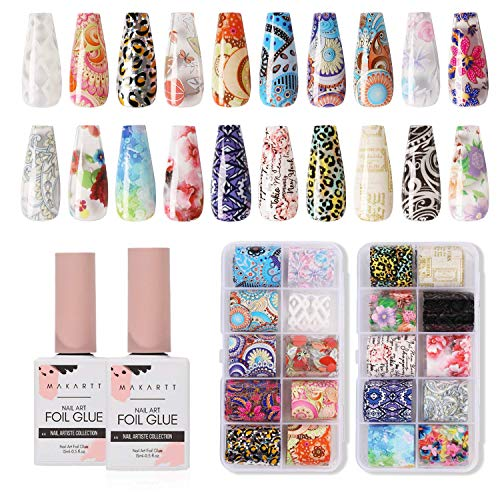 Makartt Nail Art Foil Glue Gel with Flowers and Leopard Foil Stickers Set Nail Transfer Tips Manicure Art DIY 15ML, 20PCS (2.5cm100cm) Stickers, Nail Dryer Curing Lamp Required