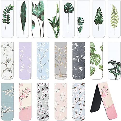 20 Pieces Magnetic Bookmarks Magnet Page Markers Assorted Book Markers Set for Students Reading, Floral and Turtle Leaf Style