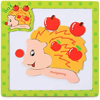 Wenjuan Wooden Puzzle Spelling Music Three-Dimensional Magnetic Puzzle Game Cartoon Animal Cognition Learning Educational Developmental Toy Gift Kids Baby (G)
