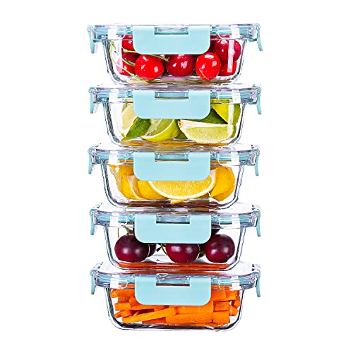 Cutiset Glass Food Container Set with Lids BPA-Free Food Prep Container Microwave, Freezer & Dishwasher Friendly, Set of 5 (1L*5)
