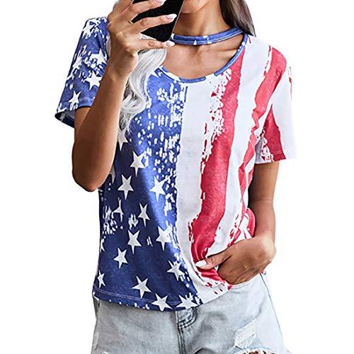 Camiseta de Mujer Tops para Camisetas Estampadas Tops de Moda Blusa de Mujer Camiseta Casual Camisa Suelta de Manga Corta Verano Tops Casuales al Aire Libre Top de Cuello Redondo para Mujer