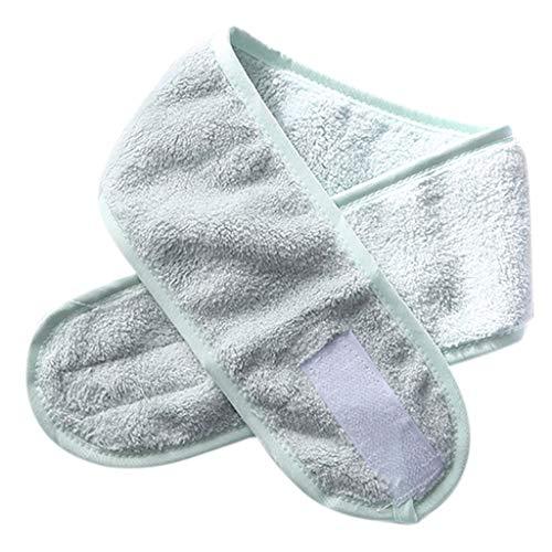 GREEN&RARE Diadema de spa facial, ajustable, para baño, para baño, para deporte, toalla de rizo elástica, para lavar la cara, turbante cosmético con cinta mágica, regalos de moda