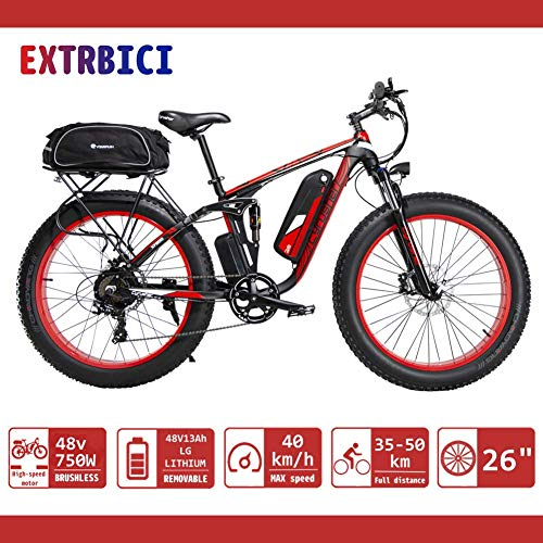 Electric ATV Limited Selling Worldwide Extrbici® XF800 1000W 48V 13A Eléctrico All Terrain Bike Soporte de carga USB con suspensión completa y Smart Code Table & Big Tire 26 x 4.0