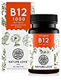 NATURE LOVE Vitamin B12 Vegan 1000µg - Vergleichssieger 2020* - 180 Tabletten. Beide aktive Formen Adenosyl- & Methylcobalamin + Depot + Folat 5-MTHF aus Quatrefolic - Hochdosiert, made in Germany