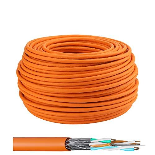 LW Electronic Highquality Verlegekabel Cat7 50m Gigabit Halogenfrei POE BauPVO Schirmung Netzwerkkabel S/FTP PIMF 1000 MHz 23AWG LSZH Verkabelung LAN Kabel Datenkabel Orange Rohkabel