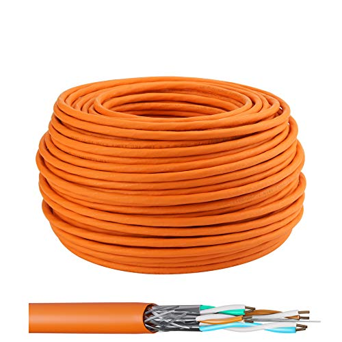 LW Cable de tendido electrónico de alta calidad Cable de red Gigabit S/FTP PIMF 1000MHz Cat7 4x2xAWG23 LSZH Cableado Cable de datos LanCable CAT7 Naranja Cat7 50m