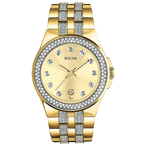Bulova Relógio masculino 98B174 Swarovski com cristal dourado