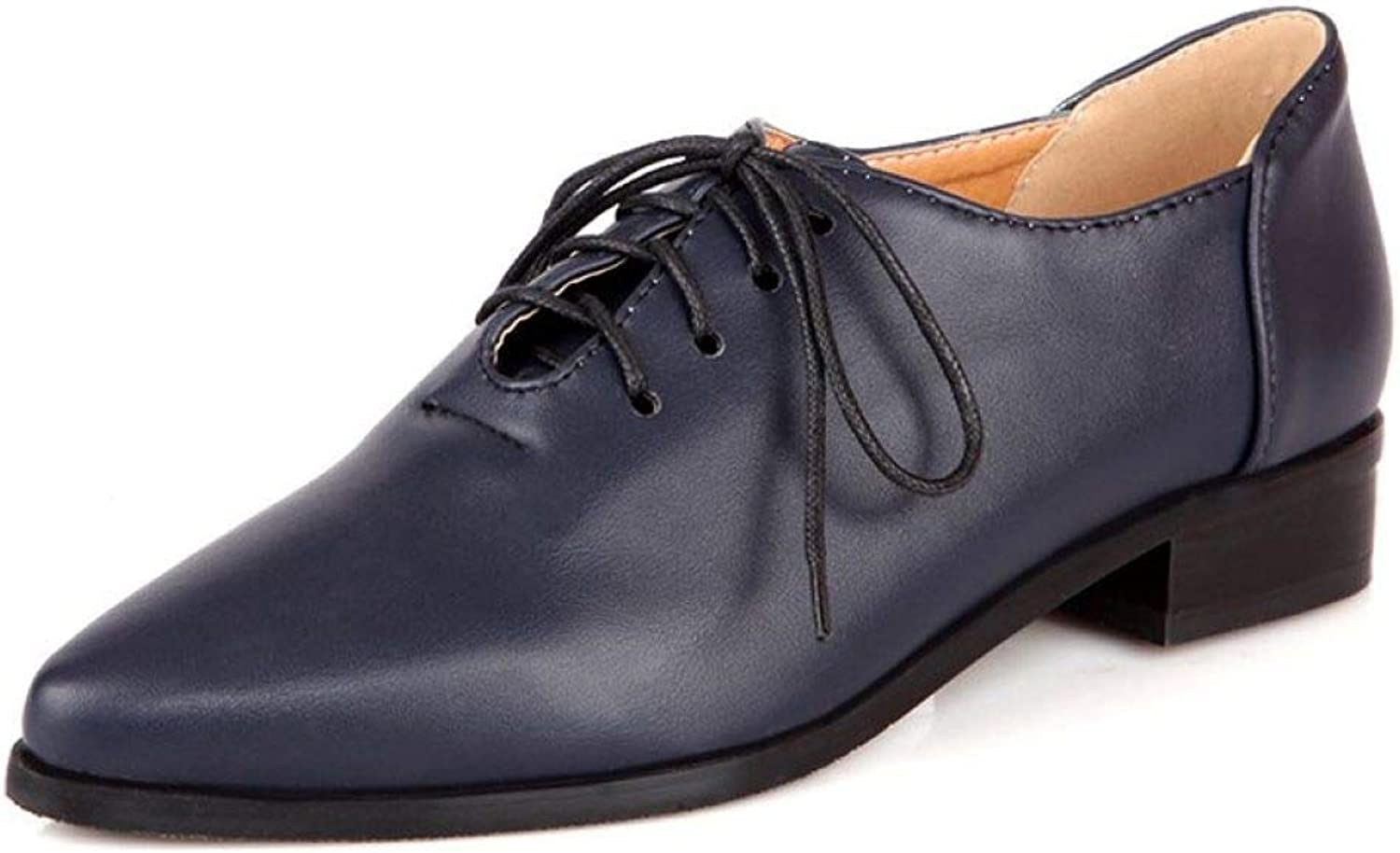 Women's Pointed Toe Leather Oxfords Low Heel Lace Up Plain Tone Flat Dress shoes