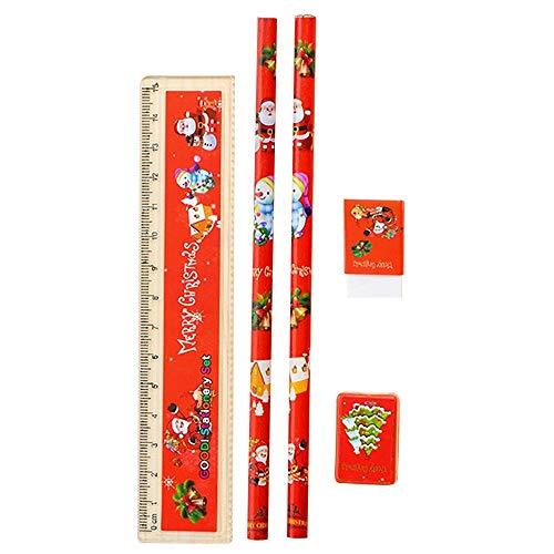 WARMWORD Set de papelería navideña Lápiz Combinación de Borrador navideña Bolígrafos Vacaciones navideñas Regalos adorables Favores Oficina Papelería Escolar Suministros
