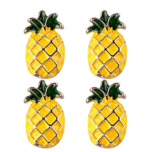 ABOOFAN 4pcs Beautiful Pineapple Brooch Alloy Clips Dress Clothes Brooch Accessory for Women Girls ( Pineapple ) Party Favor