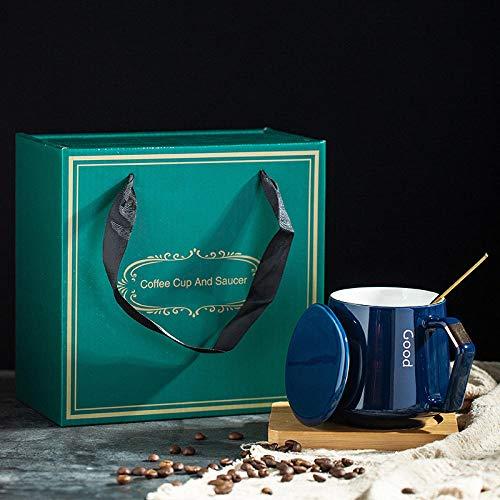 Tasse En Céramique Tasse À Eau Lumière Luxe Haut De Gamme Tasse À Café Tasse Nordique Créative Tasse En Céramique Petit Déjeuner Tasse À Lait Tasse À Eau Avec Couvercle-Coffret Cadeau Bleu Royal