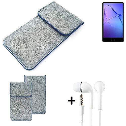 K-S-Trade Filz Schutz Hülle Für Leagoo KIICA Mix Schutzhülle Filztasche Pouch Tasche Handyhülle Filzhülle Hellgrau, Blauer Rand + Kopfhörer