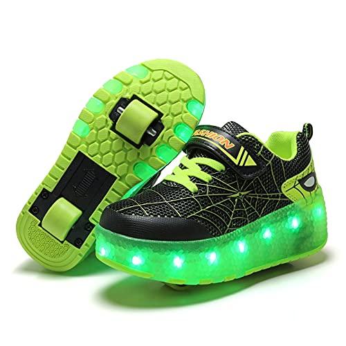 GGBLCS Jungen Mädchen Skateboardschuhe mit Rollen LED Lichter Rollenschuhe 7 Farben Leuchtend USB Aufladbare Blinken Doppelräder Sneaker Kinder Sportschuhe,Grün,29 EU