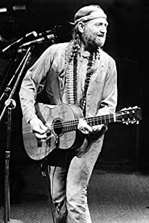 Willie Nelson with Guitar on Stage American icon 18x24 Poster