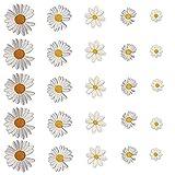 Aweisile Margaritas Parche Termoadhesivo Patrón de Flores Parches Parche de Flores de Margarita 25 piezas Apliques de Margaritas Insignia De Parches Bordados Cosidos para Cortinas