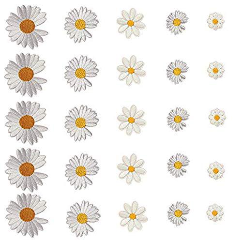 Aweisile Patch Thermocollant Ecusson à Coudre Patchs de Fleurs de Marguerite 25 Ppièces Créatifs Fleur de Marguerite Autocollant pour Brodés Délicats