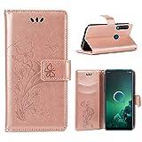 IRONB für Alcatel 3X (2019) Hülle,Wallet Case Handyhülle Ultra Slim Premium PU Leder Flip Leder Tasche Case Kartensteckplätzen Ständer Schutzhülle für Alcatel 3X (2019)-Pink