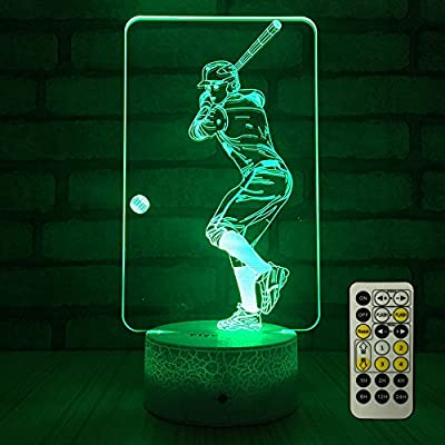 FlyonSea Baseball Light,Baseball Gifts Bedside Lamp 7 Colors Change + Remote Control with Timer Kids Night Light Optical Illusion Lamps for Boys Gift Ideas for Boys or Kids by FlyonSea