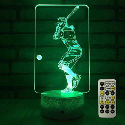 FlyonSea Baseball Light,Baseball Gifts Bedside Lamp 7 Colors Change + Remote Control with Timer Kids Night Light Optical Illusion Lamps for Boys Gift Ideas for Boys or Kids