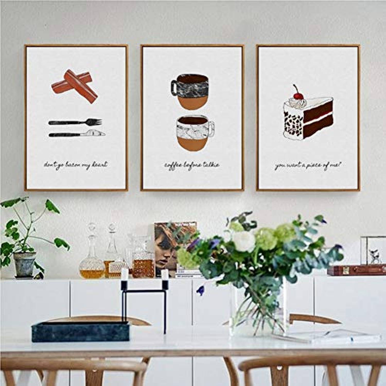 ZSHSCL Impresión De Lienzo,Patrón De Café Pastel Creativo, 3Pcs HD Imágenes De Impresión sobre Lienzo Decoración De Arte Moderno De Parojo para Cocina Dormitorio Salón Decoración Regalo De Cumplea