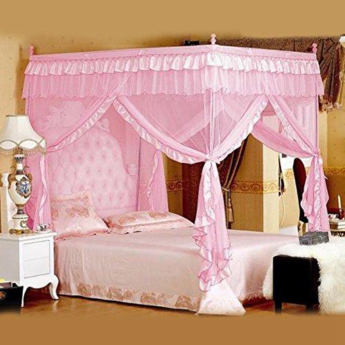 Hztyyier 1 Stücke 4 Ecken Prinzessin Bett Vorhang Baldachin Net für Mädchen Prinzessin Schlafzimmer Dekoration, 2 Größen, 3 Farben Optional(1.2 * 2.0M-Rosa)