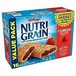 Kellogg's Nutri-Grain Soft Baked Strawberry Breakfast Bars - School Lunchbox Snacks, Individual Wrap