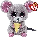 TY - Beanie Boos Squeaker, peluche ratón con queso, 15 cm (United...
