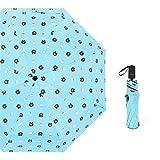 JUNDY Regenschirm Mini, Taschenschirm, leicht klein und kompakt windsicher Ultraleichter Cartoon-Sonnenschirm aus schwarzem Kunststoff mit Sonnenschutzfarbe9 96cm