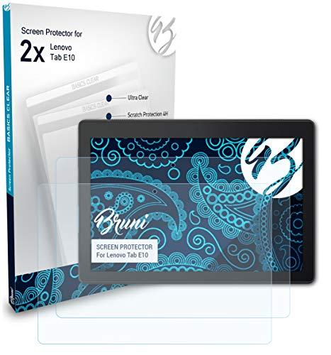 Bruni Schutzfolie kompatibel mit Lenovo Tab E10 Folie glasklare Displayschutzfolie 2X