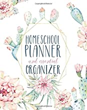 Undated Customizable Homeschool Planner and Essential Organizer | White Cactus Watercolors: Best Homeschool Planner and Organizer and Record Keeper ... year, store your important info, keep notes.