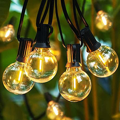 Aerb LED Lichterkette Außen, 8M/26FT 30 G40 LEDs, Ende bis Ende Anschließbare Garten Lichterkette Glühbirnen, IP44 Wasserdichte Lichterketten für Außen & Innen Weihnachtsbaum Hochzeit Party