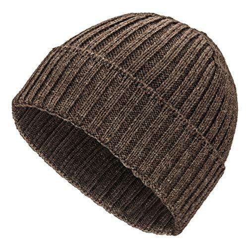 Weiche Damen & Herren Alpaka Mütze aus 100% Alpaka Wolle in 10 Farben - Hochwertige Winter Strickmütze/Beanie Wollmütze von HansaFarm, Braun - NFA06, Einheitsgröße