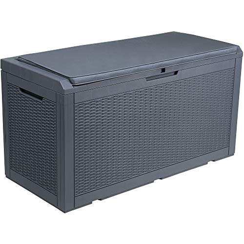 YITAHOME 100 Gallon Large Resin Deck Box Outdoor Storage with Cushion for Patio Furniture, Outdoor Cushions, Garden Tools and Pool Toys-Waterproof,Lockable (Dark Grey)