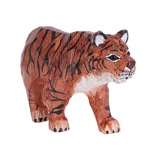 YARNOW Wooden Tiger Figurine Tiger Sculpture Wooden Statue Art Hand-painted Carved Tiger Ornament
