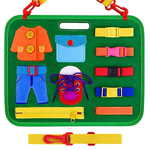 Sadocom Tabla de actividades ocupadas, Montessori juguetes sensoriales, desarrolla habilidades motoras finas, juguetes educativos para 1 2 3 4 años de edad (verde)