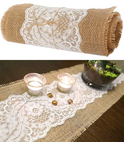 Roban Fashion Jute tischläufer tischband mit Spitze Rolle 25cm Breit Natur braun für Hochzeit meterware Tischdekoration,25x230cm