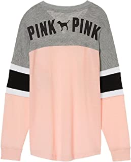 VS Pink Victoria's Secret Pink Lace Up Colorblock Varsity Crew Pullover Pink Gray