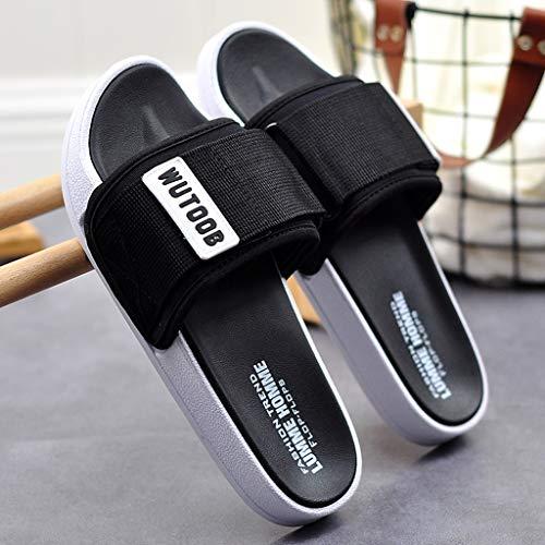 NYKK Chanclas Sandalias y Zapatillas de Verano del hogar Antideslizante Zapatos de los Hombres de baño Home Care Interior Suave Fondo de plástico Inferior Grueso de los Hombres Ducha Chancletas