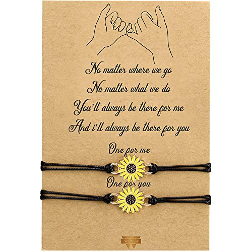 WILLBOND 2-Piece Promise Friendship Bracelet Gift for Back to School Friend Couple Girlfriend Boyfriend Women (Gold Sunflower)