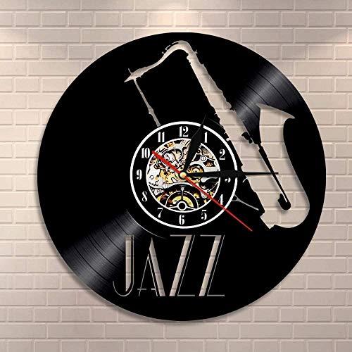 Wwbqcl Saxofón Instrumento Musical Arte de la Pared Reloj de Pared Jazz Disco de Vinilo Reloj de Pared Retro Rock Amante de la música saxofón Reloj Regalo