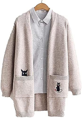 Otoño Mediados Larga Suéter Mujer Cárdigan de dibujos animados Gato Bordado de las Mujeres Cardigan Chaqueta Harajuku Knit Coat