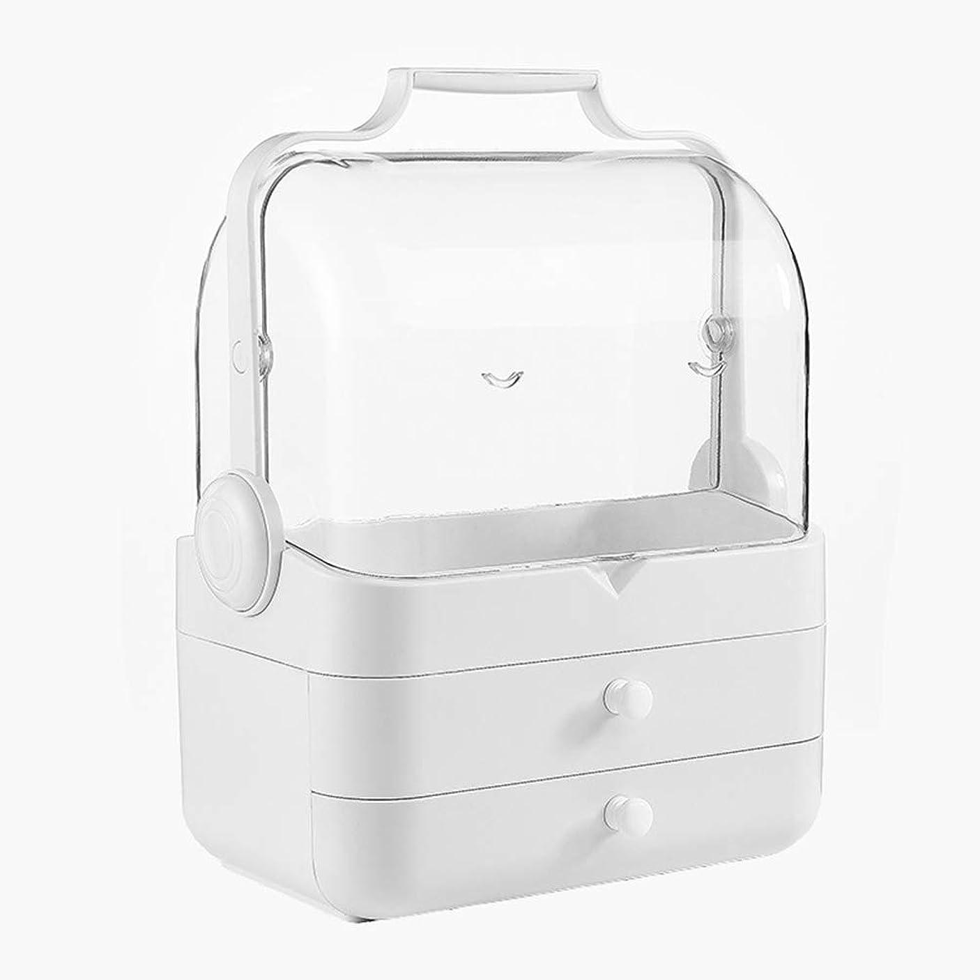 化粧品収納ボックス コスメボックス メイクボックス 多容量 蓋付き 持ち運び 引き出し付き 可愛い 化粧箱 大きめ 防塵防水 オシャレ 可愛い 透明 小物入れ 卓上収納 アクセサリボックス 白
