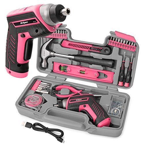 Hi-Spec 35-teiliges Pink-Rosa Heimwerker-Werkzeugset mit wiederaufladbarem USB-Akkuschrauber. Für Reparaturen und Wartungen in einem praktischen Koffer– Für Frauen und Mädchen