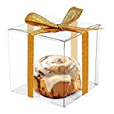 COMFECTO Clear Boxes for Favors 4x4x4 inch,...