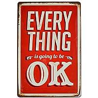 【USA アメリカン デザイン】EVERY THING OK カフェ キッチン 店舗 部屋 サインボード ビンテージ インテリア 看板 AVSB-014