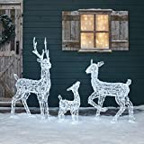 Lights4fun LED Rentier Familie aus Acryl 120cm /90cm / 60cm weiß strombetrieben Timer innen und außen