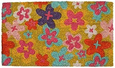 Decorative Coir Entrance Door Mat Flowers 70 cm x 40 cm