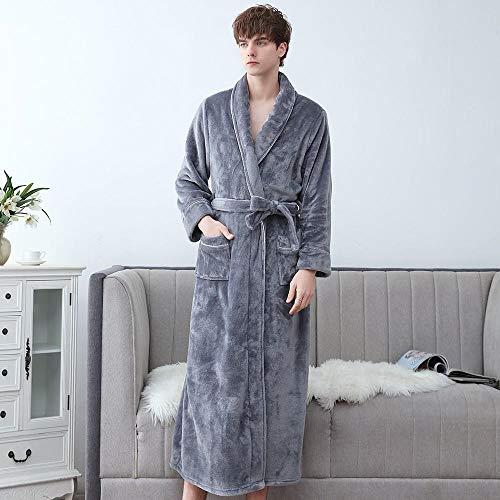 HUANGRONG Albornoz de Invierno Coral Fleecewear Ropa de Dormir Kimono Vestido Masculino más tamaño 3XL Albornoz Franela Albornoz Nightwear Ocasional íntimo lencería camisón camisón