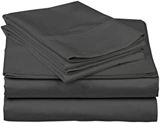 KN Linen Hotel Collection - Luxury Solid Pattern 600 Thread Count 100% Egyptian Cotton 4-Piece Sheet Set Fully Elastic Pockets Fits 15-18